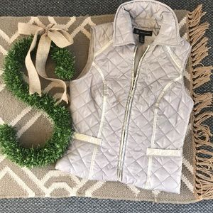 INC Silver Vest Puffer Puffy Vest Outerwear
